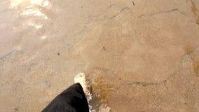 Die Füße des Mannes, die in Fluss gehen stock video footage
