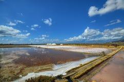 Die fabelhaften Salzpfannen von Trapan Stockfotos
