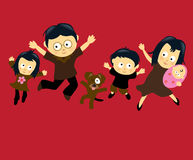 Die Familie 4 springend Stockfotos