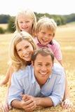 Die Familie, die am Sommer sich entspannt, erntete Feld lizenzfreies stockbild