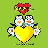 Die Familie von Pinguinen wird durch ein Herz und Liebe miteinander vereinigt vektor abbildung
