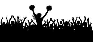 Die Fans, die zusammen mit dem Cheerleaderschattenbild zujubeln masse sport Auch im corel abgehobenen Betrag stock abbildung