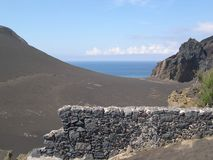 Die Farbe der Insel von Faial Azoren in Portugal, nahe dem Capelinhos-Vulkan stockfotos