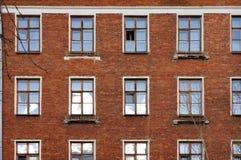 Die Fassade des alten Ziegelsteingebäudes in Moskau Lizenzfreies Stockbild