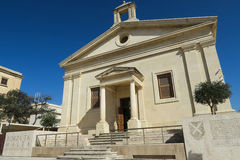 Die Fassade des Börsegebäudes Maltas in Valletta Lizenzfreie Stockfotos