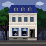 Die Fassade des Cafés in einem alten klassischen Gebäude auf dem Hintergrund des Parks stock abbildung