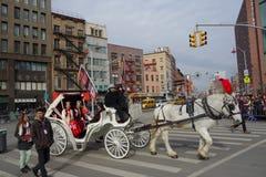 Die Feier 2014 Chinesischen Neujahrsfests in NYC Stockbild