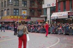 Die Feier 2014 Chinesischen Neujahrsfests in NYC 65 Stockbild
