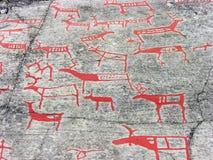 Die Felsenkunst in Alta Stockbild