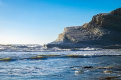 Die felsige weiße Klippen Treppe der Türken, Sizilien lizenzfreies stockbild