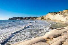 Die felsige weiße Klippen Treppe der Türken, Sizilien stockbilder
