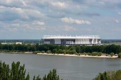 Die Fertigstellung des Stadions für die Fußballmeisterschaft in Rostow-Na-Donu Stockfoto