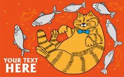 Die fette glückliche wohlgenährte Katze umgeben durch Fische auf dem orange Hintergrund, Gekritzel, das Werbungskatzenfutter Lizenzfreies Stockfoto