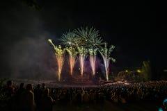 Die Feuerwerke mit Schattenbild des Publikums lizenzfreie stockbilder