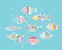 Die Fische im Aquarium lizenzfreie abbildung
