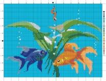 Die Fische im Aquarium Kreuzstichentwurf Vektor Abbildung