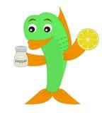 Die Fische mit einem Pfeffer und einer Zitrone. Lizenzfreie Stockfotos