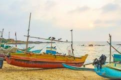 Die Fischerboote auf Sonnenuntergang Stockbild