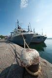Die Fischerei versendet in der Seehafenstadt von Sozopol Stockfotografie
