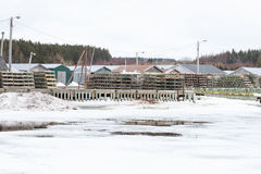 Die Fischerei von Fallen schneite herein Stockbilder