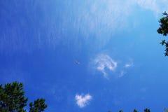 Die Fläche auf klarem blauem Himmel stockbild