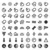 Die flachen Ikonen des Wetters. Schwarzes Stockfotografie