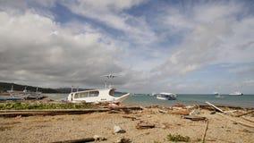 Die flachen Länder an Catiklan-Flughafen nah an Boracay-Insel Niedrig landen über der Küste stock video footage