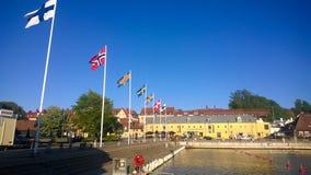 Die Flaggen der nordischen Länder Stockfotos