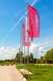 Die Flaggen des Ölkonzerns Lukoil auf der Tankstelle Lukoil I Lizenzfreie Stockfotografie