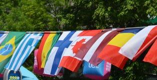 Die Flaggen von Brasilien, von Griechenland, von Tschad, von Kanada, von Mali, von Finnland und von La Lizenzfreies Stockfoto