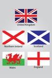 Die Flaggen von Briten Nordirland Schottland Wales und von England Stockfotos