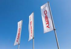 Die Flaggen von Chery über blauem Himmel Lizenzfreie Stockbilder