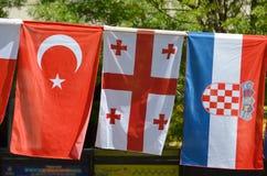 Die Flaggen von der Türkei, von Georgia und von Kroatien Lizenzfreies Stockfoto