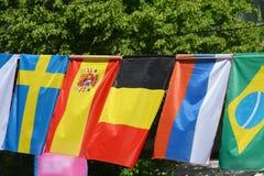 Die Flaggen von Schweden, von Spanien, von Belgien, von Russland und von Brasilien Stockfoto