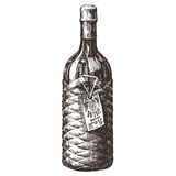 Die Flasche des Weins auf einem weißen Hintergrund skizze stock abbildung