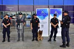Die Fliegenklatsche und der Polizeihund Lizenzfreies Stockfoto