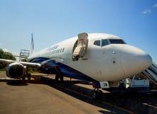 Die Flugzeuge Taimyr-Fluglinien (NordStar-Fluglinien) auf dem Flugplatz von Domodedovo-Flughafen Lizenzfreie Stockfotos
