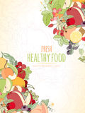 Die Früchte und der Text Stockfotos