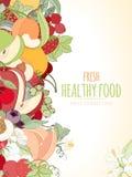 Die Früchte und der Text Stockfoto