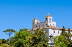 Die französische Akademie in Rom, Landhaus Medici, wie von der Spitze O gesehen stockbilder