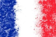 Die französische Flagge, die vom Spritzen hergestellt wird, färbt blaues weißes Rot stock abbildung