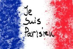 Die französische Flagge, welche die handgeschriebenen Wörter bin ich trägt, Pariser vektor abbildung