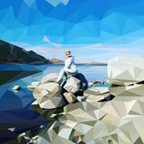 Die Frau auf dem Ufer lizenzfreie abbildung
