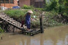Die Frau, die auf dem Ufer des Mekongs kann herein sich wäscht Stockfotografie