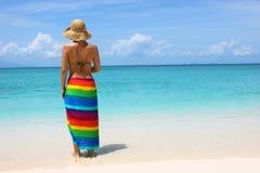 Die Frau auf Seeküste Stockfotos