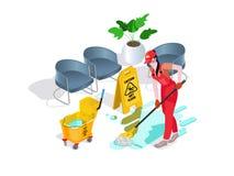 Die Frau, die in der Uniform gekleidet wird, wäscht den Boden im Büro und säubert Berufsreinigungsservice mit Ausrüstung und Pers vektor abbildung