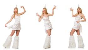 Die Frau des blonden Haares im Maskeradekostüm lokalisiert auf Weiß lizenzfreie stockfotos