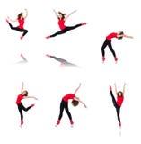 Die Frau, die Übungen auf Weiß tut Lizenzfreie Stockfotografie