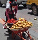 Die Frau, die Achiote verkauft, trägt in den Straßen von Otavalo, Ecuador Früchte Lizenzfreies Stockbild