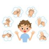 Die Frau, die erklärt, Händewaschen Lizenzfreie Stockbilder
